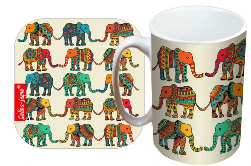 Selina-Jayne Elephants Limited Edition Designer Mug and Coaster Gift Set